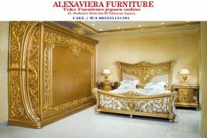 Set Kamar Tidur Ukiran Jepara Mewah Klasik Gold