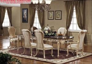 Meja Makan Set Mewah Klasik Kekinian KM-066