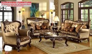 Sofa Set Ruang Tamu Klasik Ukiran Jepara Modern KT-069