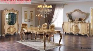 Meja Makan Set Mewah Klasik Murah Hermes KM-070, Kursi Makan Mewah Klasik, Harga Meja Makan Mewah Klasik