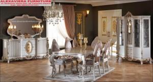 Meja Makan Set Terbaru Mewah Klasik Zumrut KM-072, Kursi Makan Terbaru Mewah, Jual Set Meja Makan Terbaru Mewah
