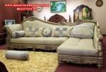 Sofa Ruang Keluarga Sudut Klasik Ukiran Mewah Model Terbaru Kekinian KT-120
