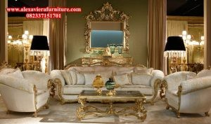 sofa tamu gold eropa model modern mewah ukiran kt-121