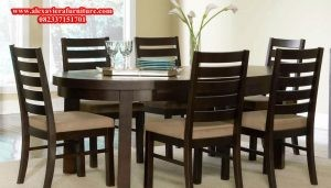 meja kursi makan minimalis jati jepara model klasik kekinian km-118