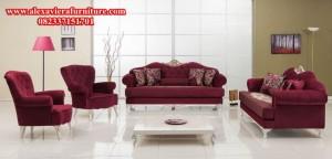 set sofa tamu modern minimalis merah mewah model terbaru rangka kayu duco kt-164