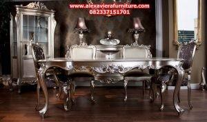 set meja makan klasik antik ukiran jepara model terbaru km-170