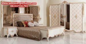 set tempat tidur minimalis ukiran gold jepara modern mewah model terbaru skt-109