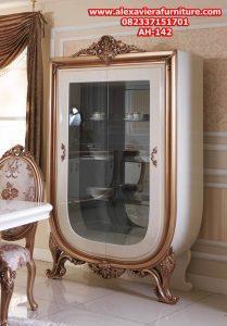 lemari kristal hias mewah modern duco model terbaru jepara ukiran klasik ah-142
