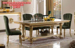 set kursi makan aries klasik mewah modern duco gold model terbaru jepara km-197