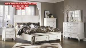 set tempat tidur duco putih minimalis jepara model terbaru skt-115