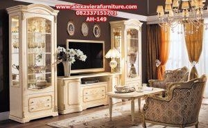 set bufet tv mewah klasik flora modern duco model terbaru ukiran jepara ah-149