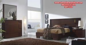 set tempat tidur jati minimalis elegant modern model terbaru skt-122