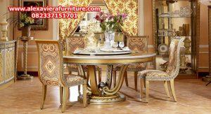 set kursi makan gold klasik modern mewah ukiran jepara model terbaru km-254