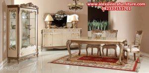 set kursi makan sultan klasik mewah modern ukiran jepara model terbaru km-240