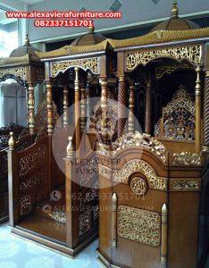 gambar mimbar masjid ukiran jepara jati model terbaru mm-21