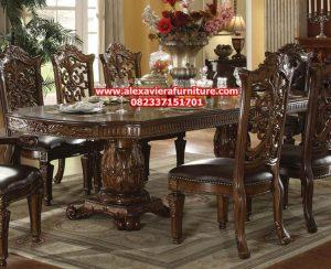 harga set meja makan kayu klasik ukiran jepara model terbaru 8 kursi km-266