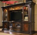 jual set bufet tv klasik kayu jati jepara model terbaru ah-156
