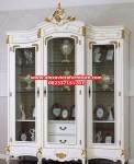 lemari hias kristal duco putih mewah ukiran jepara model terbaru ah-158