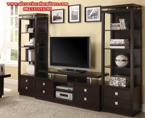model set bufet tv minimalis modern hitam jati terbaru ah-155