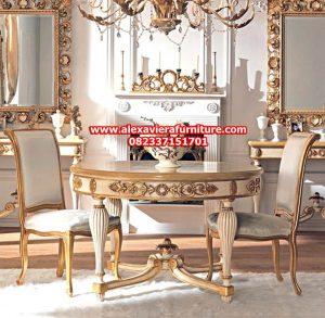 model set meja makan klasik mewah gold ukiran jepara terbaru km-264
