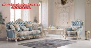 set sofa tamu klasik mewah model eropa ukiran jepara terbaru duco putih kt-262
