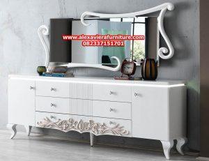 jual set bufet tv model terbaru mewah klasik modern duco putih ukiran bj-023
