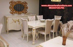 set kursi makan modern klasik minimalis broko duco putih model terbaru km-276