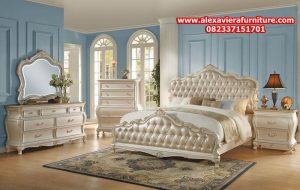 set tempat tidur modern klasik pearl white model terbaru mewah jepara skt-138