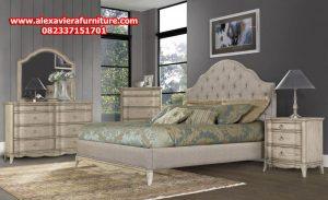 set tempat tidur rustik klasik putih minimalis model terbaru skt-137