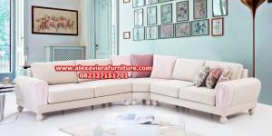 sofa tamu sudut minimalis duco sultan modern mewah model terbaru kt-276