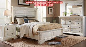 jual set tempat tidur minimalis duco putih klasik skt-149
