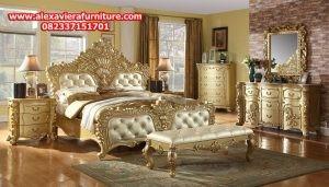 model set tempat tidur golden klasik mewah terbaru skt-157