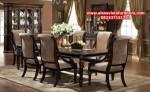1 set meja makan model terbaru klasik minimalis mahoni darkskin km-315