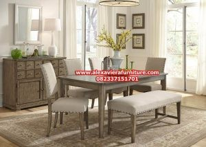 set kursi makan dan bangku minimalis rustik km-325