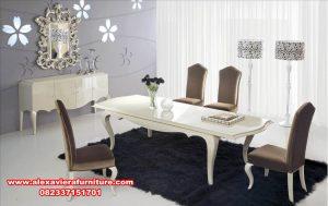 set meja & kursi makan modern minimalis, set meja makan, set meja makan klasik, set meja makan mewah, set meja makan modern, set meja makan duco