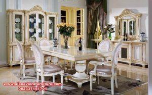 kursi makan set modern klasik putih km-366