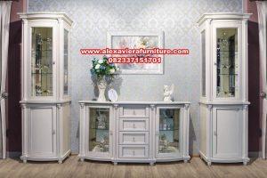set bufet tv model klasik putih minimalis ah-194