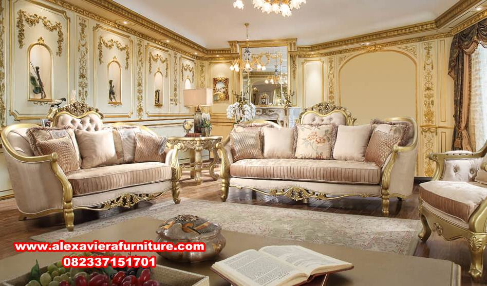 Sofa Kursi Tamu Modern Mewah Eropa Gold Alexaviera Furniture