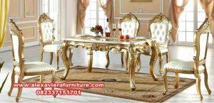 set kursi makan klasik gold mewah terbaru km-381