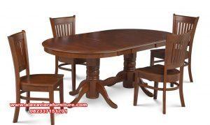 set kursi makan meja oval jati minimalis km-388