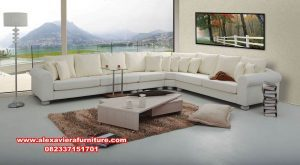 set sofa tamu sudut minimalis rangka kayu kt-394