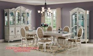 model satu set meja makan klasik eropa putih km-405