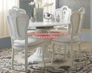 model set meja makan bundar klasik mewah, meja makan mewah, set meja makan klasik mewah, meja makan klasik, set meja makan, set kursi makan, kursi makan