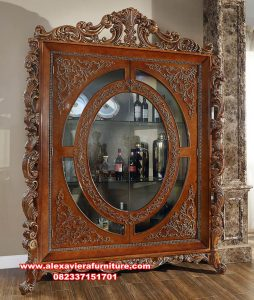 Lemari kristal Jepara kayu jati klasik mewah Ah-286
