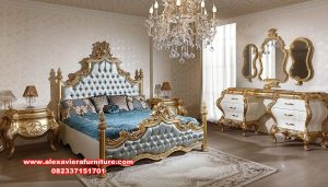 Kamar tidur mewah klasik gold duco xaviera Skt-291