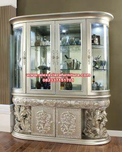lemari pajangan kristal duco silver klasik termewah ah-292