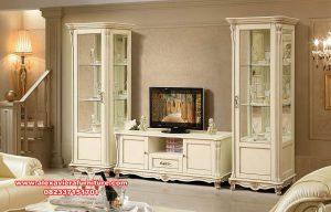 bufet tv modern mewah duco putih alezi ah-304