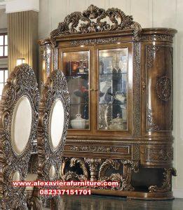 lemari pajangan mewah kayu jati kualitas terbaik ah-299