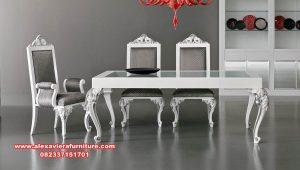 meja makan 6 kursi mewah minimalis modern putih km-538