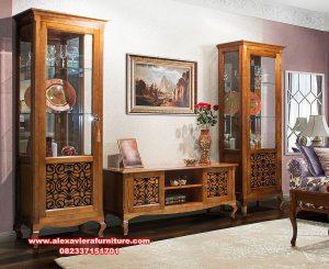 set bufet tv kayu jati berkualitas minimalis klasik ah-306